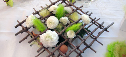 exemple de décoration pour Pâques sur le thème Vert et Jaune