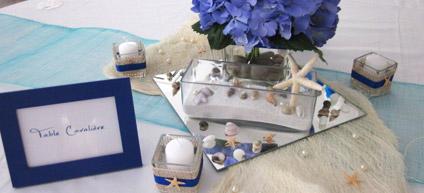 exemple de décoration pour un mariage sur le thème de la mer