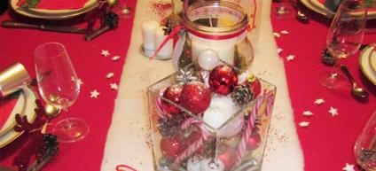 exemple de décoration de table sur le thème de noël
